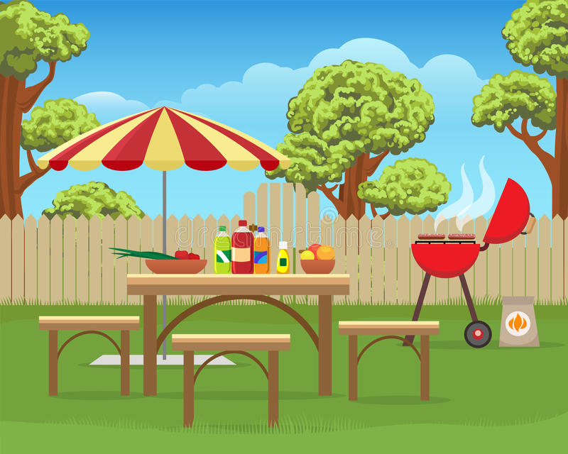 Summer backyard fun bbq. Or grilling barbecue party cartoon vector illustration. Home garden patio picnic lifestyle vector illustration