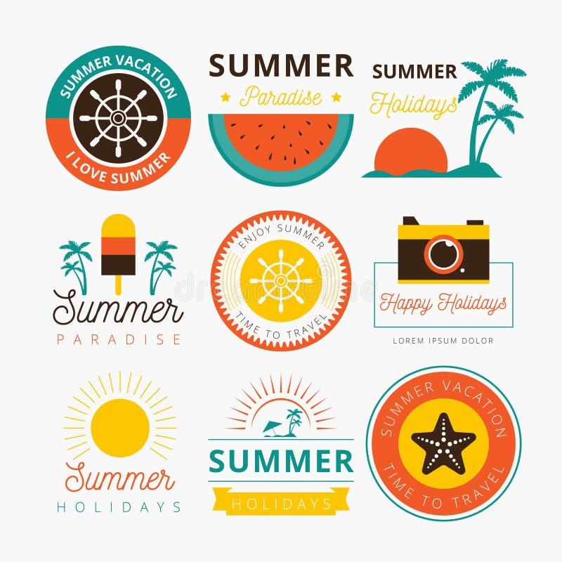 SUMMER BADGE-ONTWERP royalty-vrije illustratie