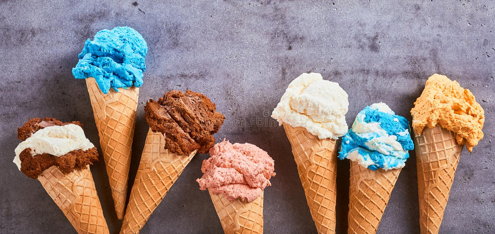 Summer banner with assorted flavored ice cream stock photos