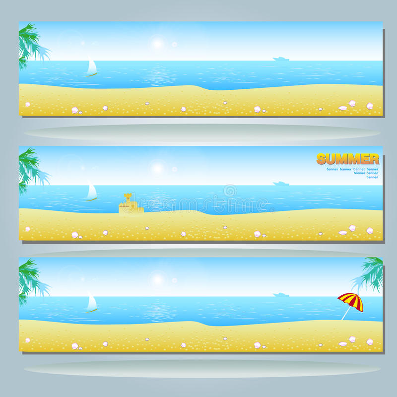 Summer Banner With Beach Stock Images