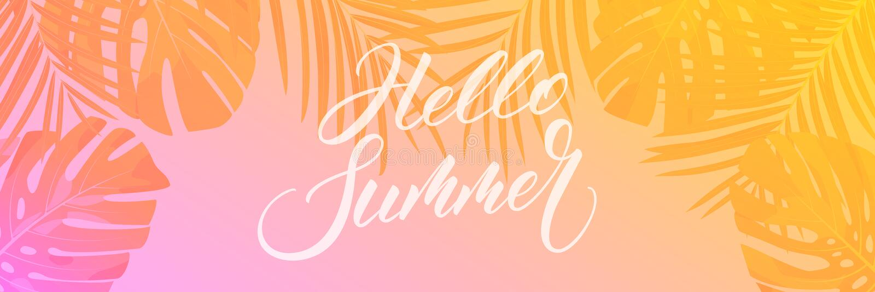 Summer banner. Palm leaves tropical wallpaper. Summer trendy design for ad, invitation, flyer, poster, web banner.  royalty free illustration