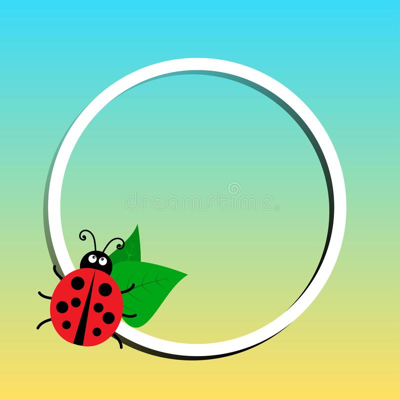 Summer banner, round white frame with ladybug and leaves on colored background. Vector. Summer banner, round white frame with ladybug and leaves on colored vector illustration