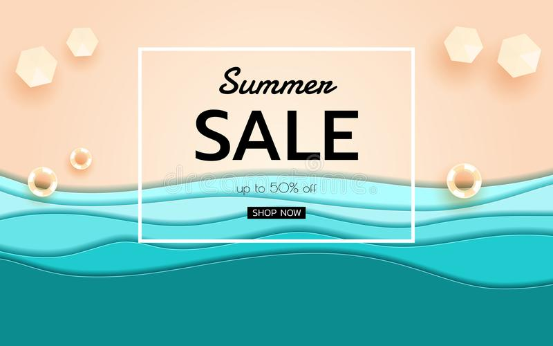Summer banner sale. Top view blue sea and beach paper waves with umbrella beach and rubber ring. stock illustration
