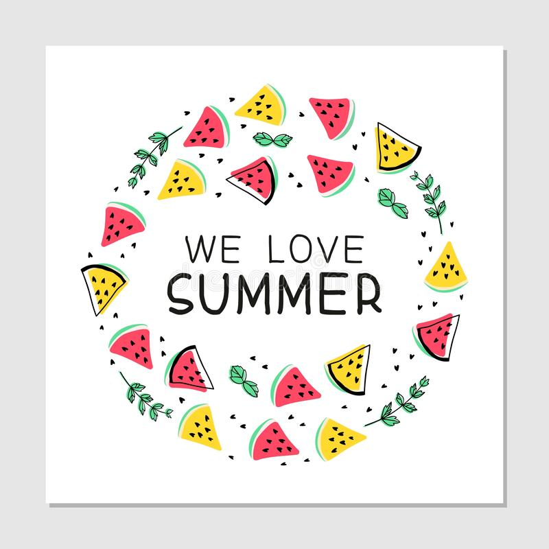 We love summer hand drawn multicolor illustration with lettering. vector illustration