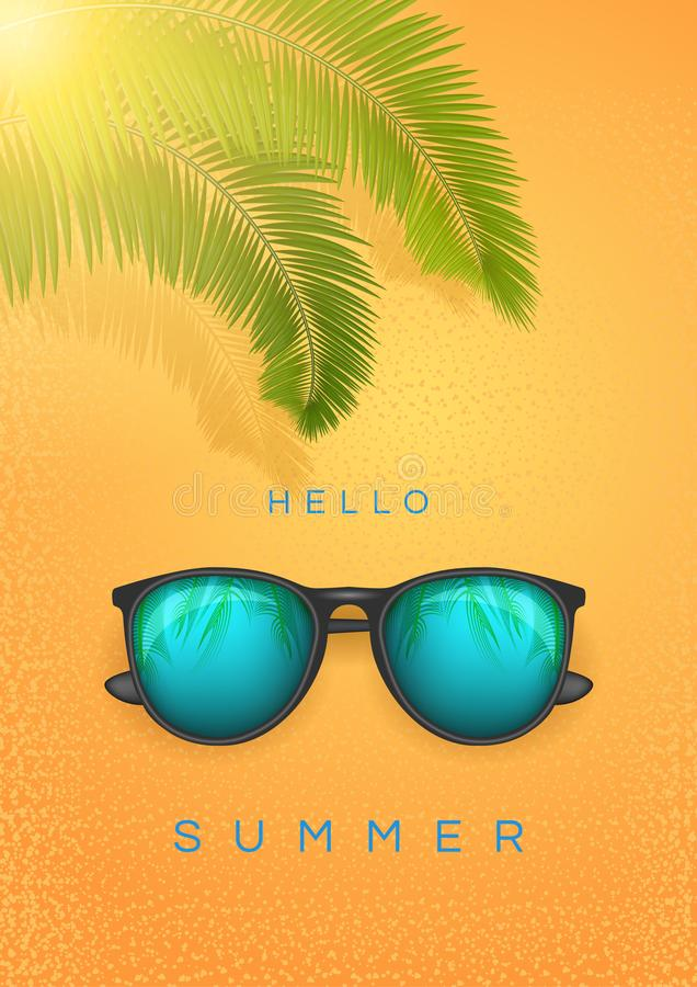 Summer banner with text Hello Summer, sunglass and palm branch Happy bright concept in yellow background. Vector Stock royalty free illustration