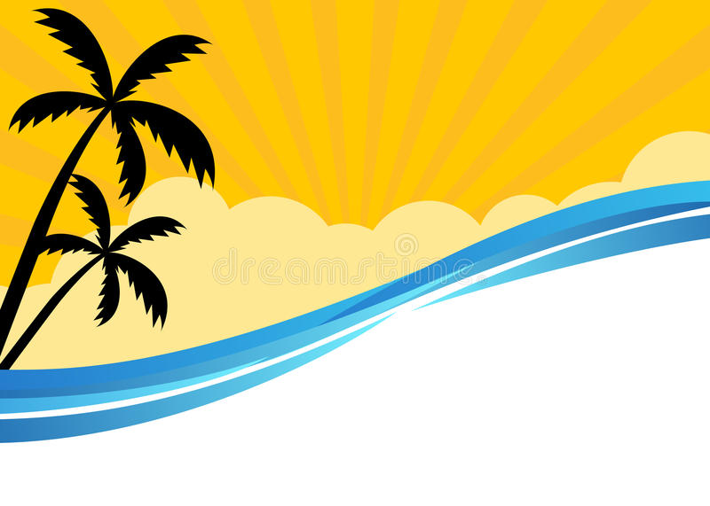Summer banner with tropical beach scene royalty free illustration