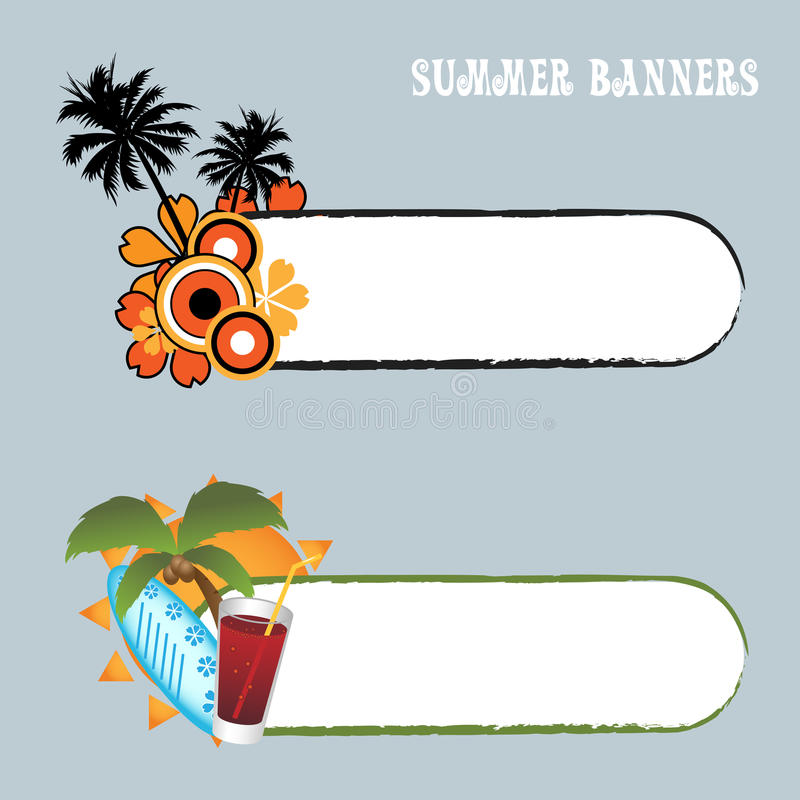 Summer banners. Set of two summer banners isolated on grey with space for your text.EPS file available royalty free illustration