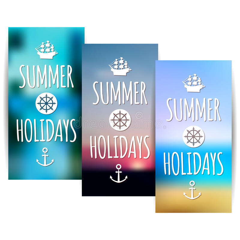 Summer Banners With Blurred Nature Background Stock Vector