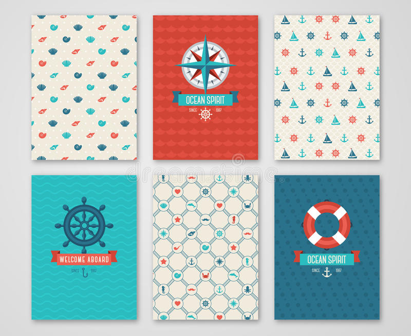 Summer Banners Set Concept. Labels with Nautical Symbols. Summer Banners Set Concept. Pattern and Labels with Nautical Symbols. Vector illustration. Marine vector illustration