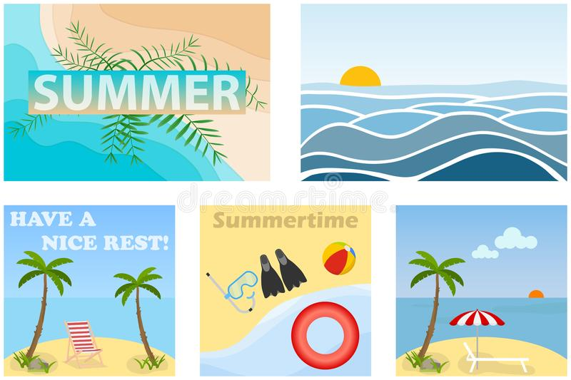Summer banners, a set of five summer banners. royalty free illustration