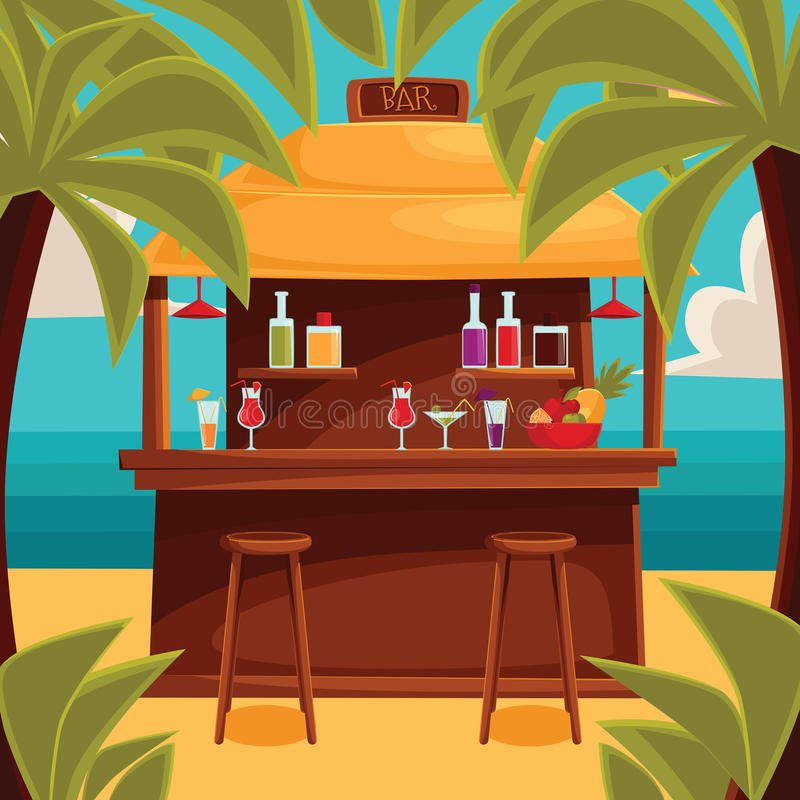 Free Summer Bar, Beach Cafe With Palm Trees Stock Photography - 69519752