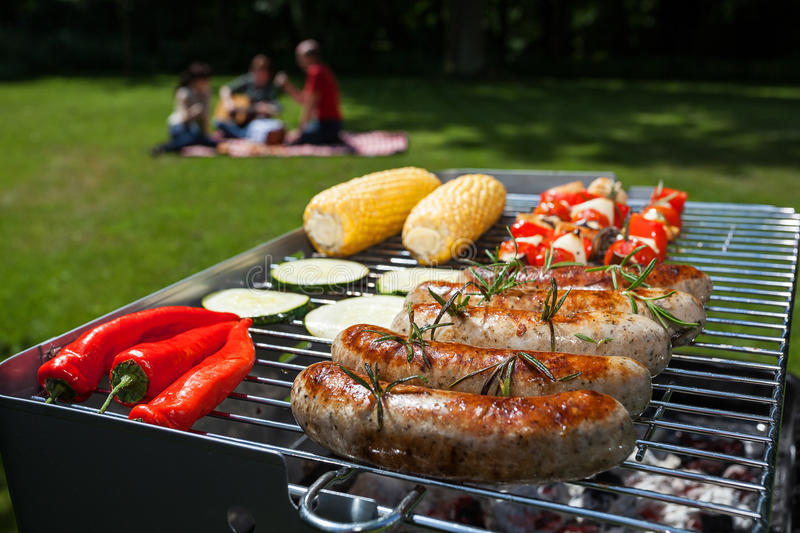 Summer barbecue. In the garden with yummy food stock photo
