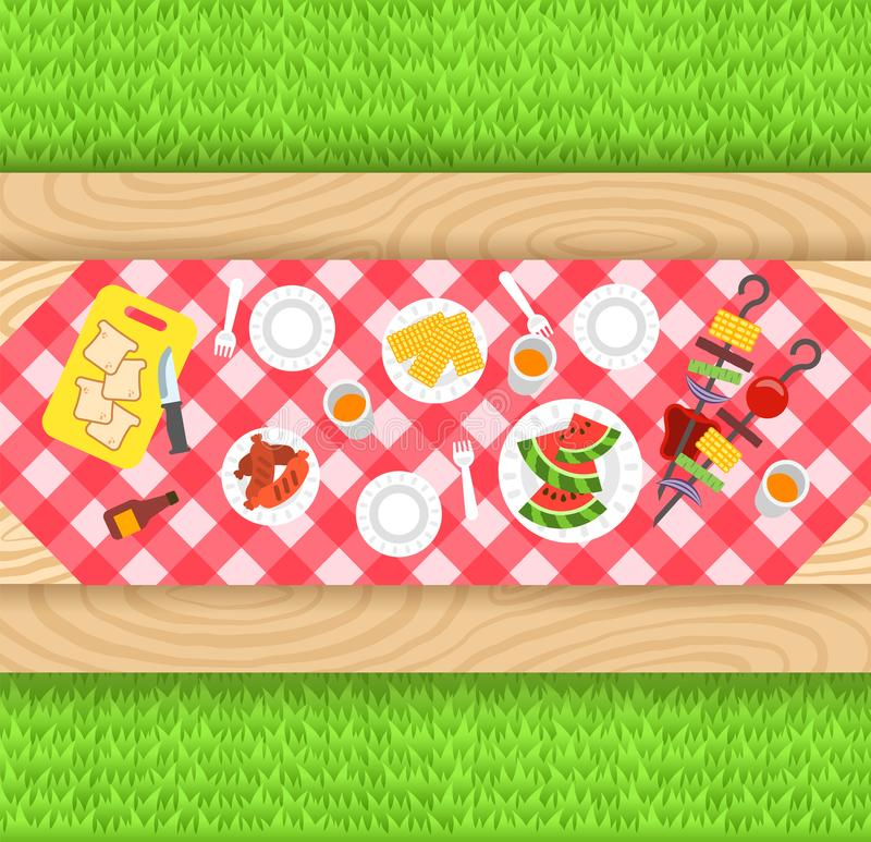 Summer barbecue picnic vector background. Summer barbecue picnic background. Vector flat illustration. Outdoor party banner. Grilled sausages, corn, watermelon royalty free illustration