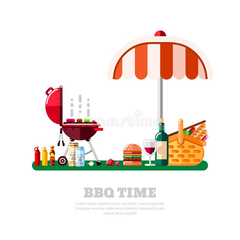 Summer barbecue picnic, vector flat isolated illustration. BBQ grill, umbrella, table with food and wine on green lawn.  stock illustration