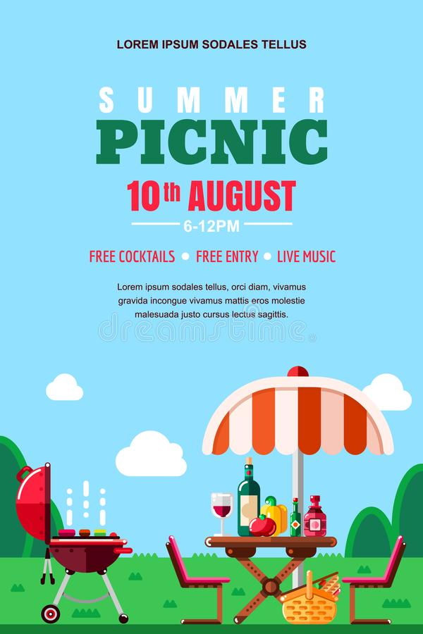 Summer barbecue picnic, vector poster, banner layout. BBQ grill, table with food and wine. Outdoors weekend background. Summer barbecue picnic, vector poster stock illustration