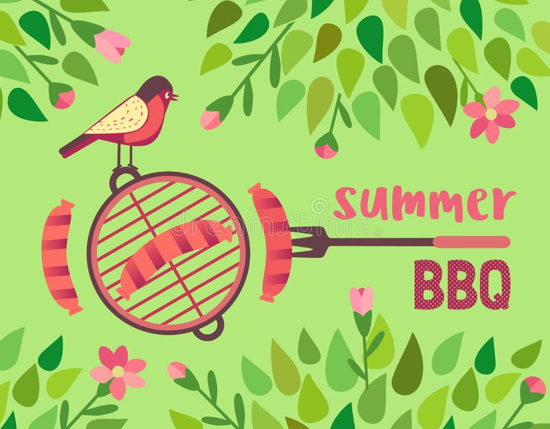 Summer barbecue picnic vector poster. Summer barbecue picnic vector welcome poster. Grilled smoked sausage on long metal grill fork. BBQ grill hand drawn vector royalty free illustration