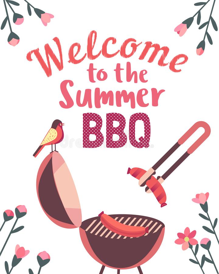 Summer barbecue picnic vector poster. Summer barbecue picnic vector welcome poster. Grilled smoked sausages on grill cute cartoon. BBQ grill hand drawn vector vector illustration