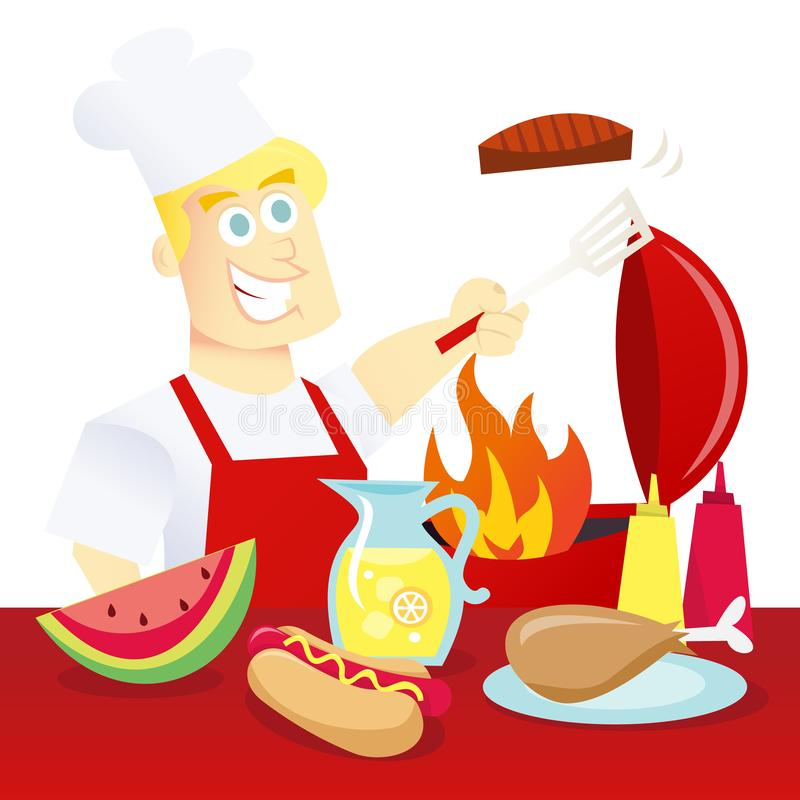 Summer BBQ. A cartoon vector illustration of summer bbq: a happy guy in apron barbequing meat in front of a table of food royalty free illustration