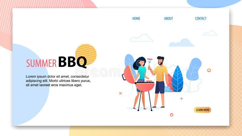 Summer BBQ Party. Cartoon Man Woman near Grill stock illustration