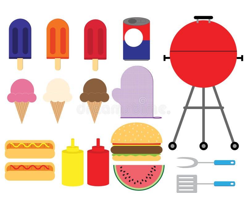 Summer BBQ Set stock vector. Illustration of hamburger ...