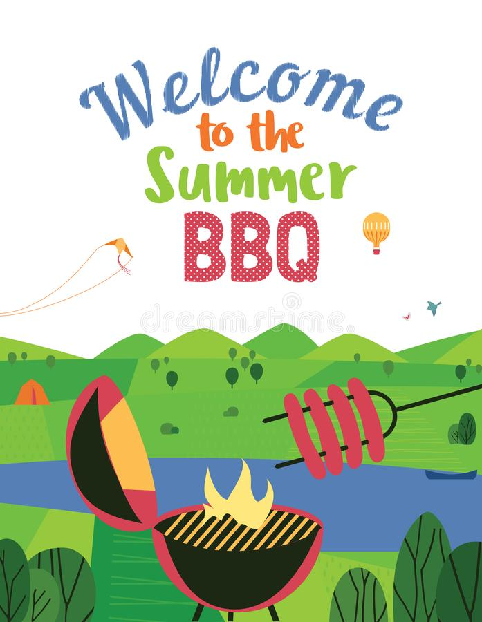 Summer bbq welcome vector flat color poster. Summer outdoors concept. Cartoon retro style poster. Welcome invitation to barbecue picnic. Holiday leisure banner royalty free illustration