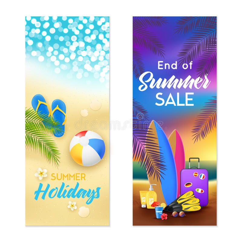 Free Summer Beach 2 Vertical Banners Royalty Free Stock Photo - 92459715