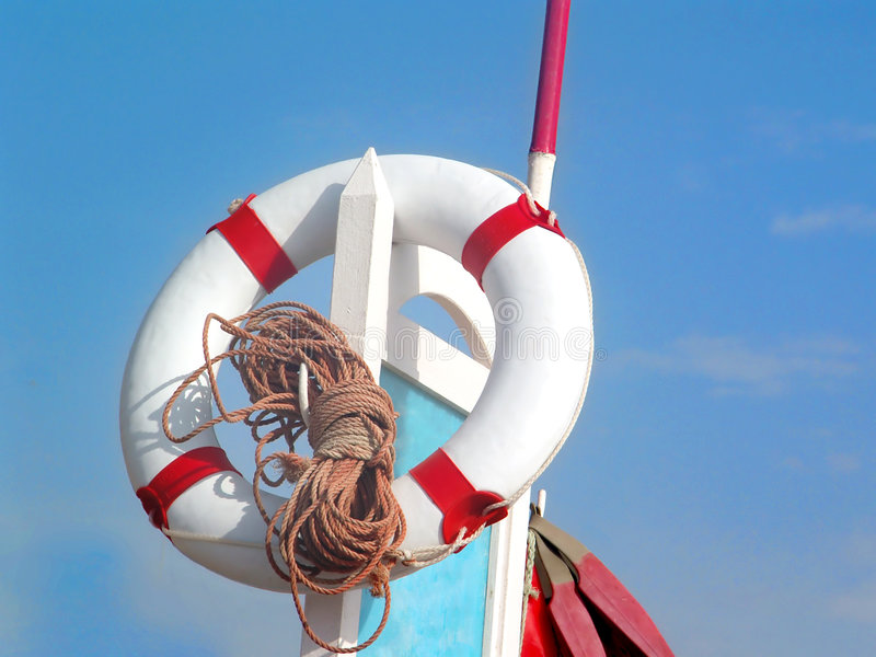 Summer at the Beach. A Lifegard's buoy on a sunny day at the beach stock image