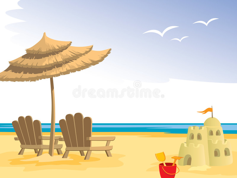 Summer beach. Chairs, umbrella, sandcastle and toys