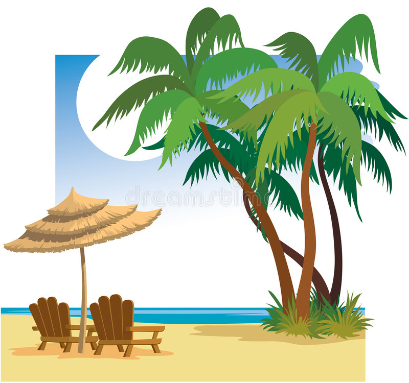 Summer beach. Palm trees, sea, chairs and umbrella