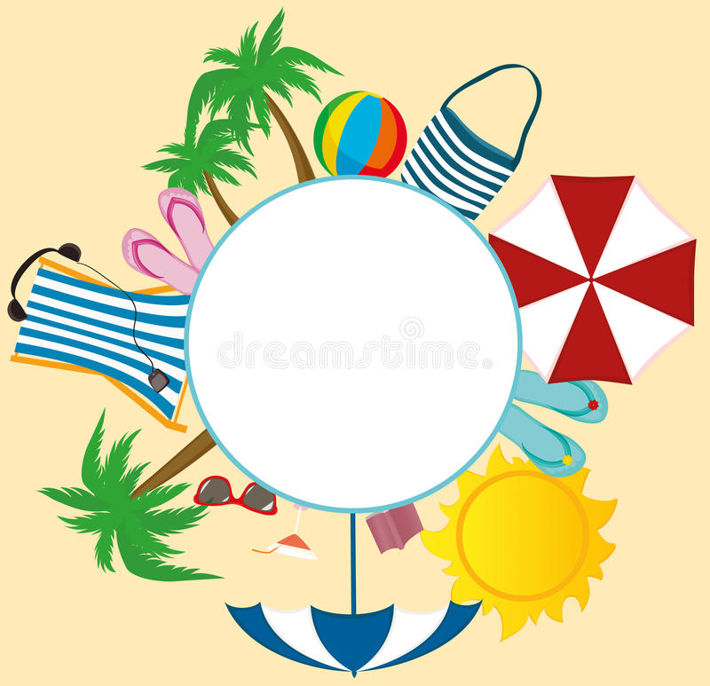 Summer beach accessories. Banner design with white circle for text vector illustration