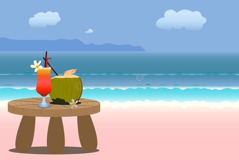 Summer beach background with cocktail royalty free illustration