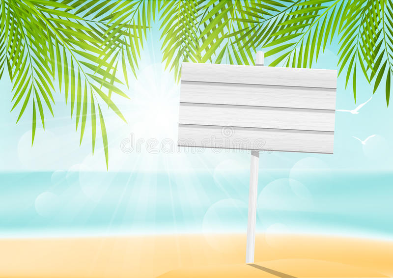 Summer beach background with signboard. Summer beach background with wooden signboard vector illustration