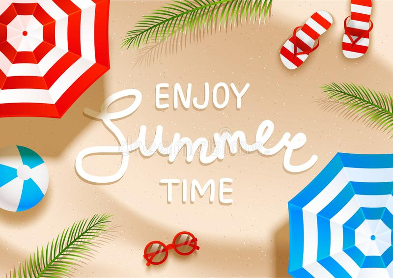 Summer  beach background with sun umbrellas, flip flops, sunglasses, ball and palm shadows on sand. Summer  beach background with sun umbrellas, flip flops vector illustration