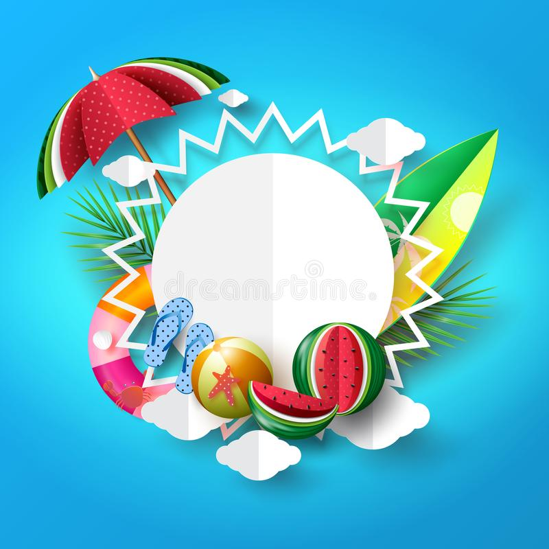 Summer beach banner background concept design with sun and object elements. vector illustration