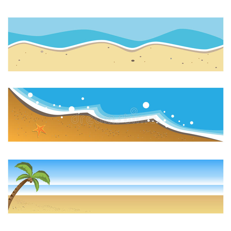 Summer beach banners. Set of three summer beach banners isolated on white background.EPS file available royalty free illustration