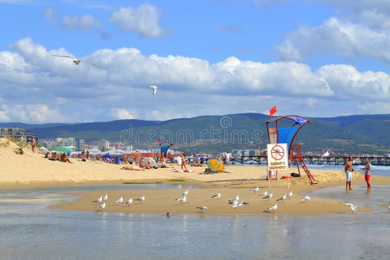 Summer beach. Black sea summer resort beach.Picture taken on August 31st 2014,Bulgaria,Sunny beach is the most popular Bulgarian summer resort,Black sea coast stock photography