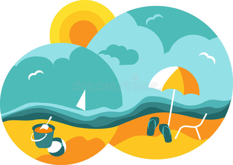 Summer beach and blue sea stock illustration