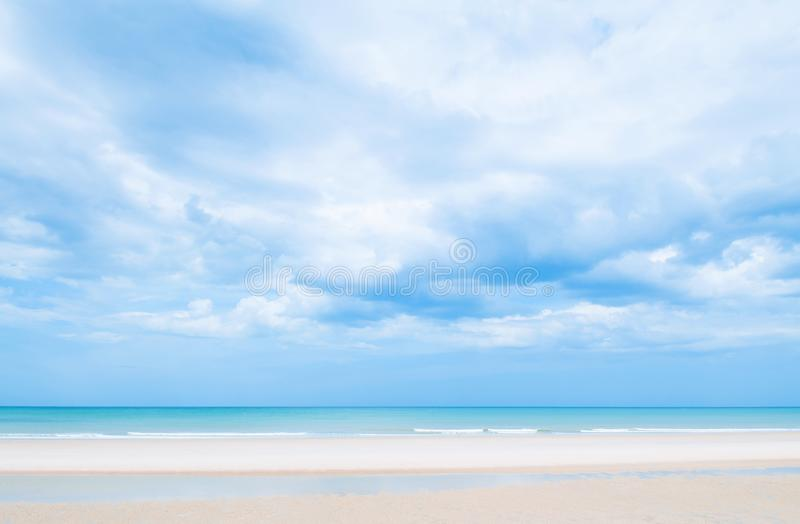 Summer Beach with blue sky with clouds, Hua Hin, Thailand royalty free stock photo