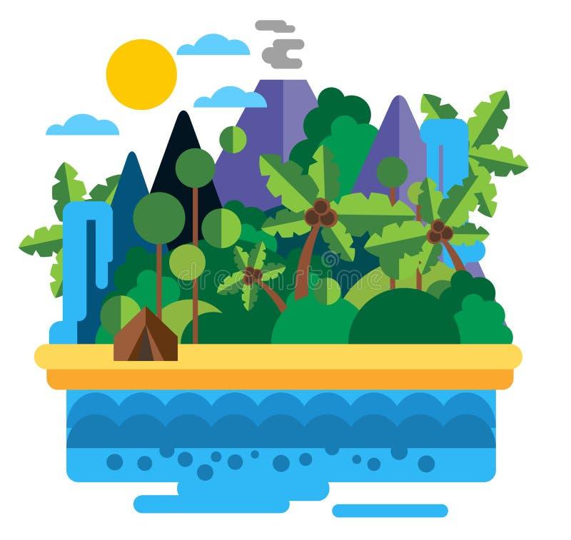 Summer beach camping landscape vector illustration