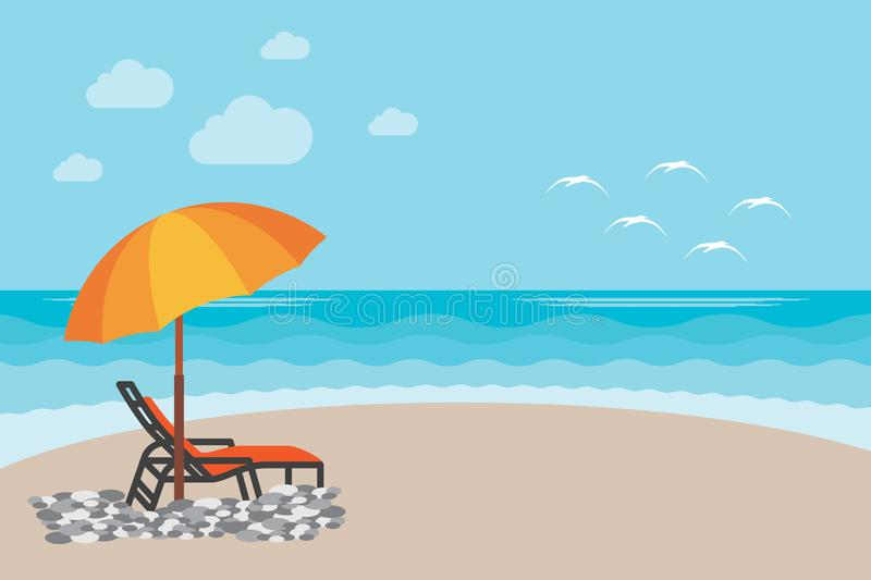 Summer Beach Chair illustration Background. Vector illustration of the day at the beach with sea waves, seaside view with royalty free stock photography