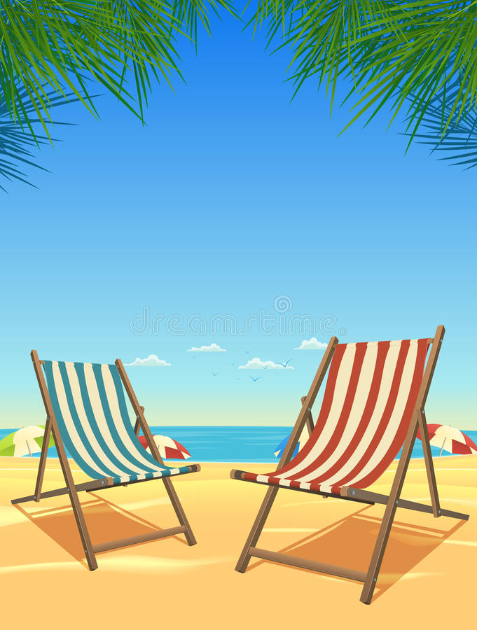Summer Beach And Chairs Background vector illustration