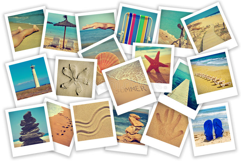 Summer on the beach collage. A collage of some pictures of different scenes about summer on the beach concept royalty free stock images