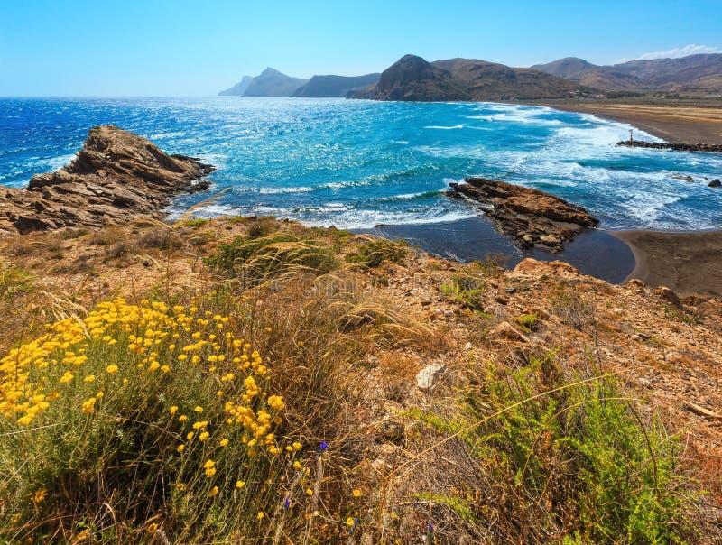 Summer beach Costa Blanca, Spain. Summer sandy beach and yellow flowers in front. Mediterranean sea coastline landscape Portman bay, Costa Blanca, Spain stock image