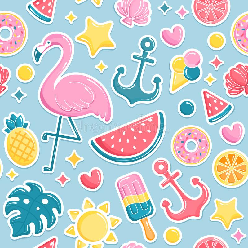 Summer beach elements seamless pattern. Flamingo, ice cream, watermelon, sun, shell, pineapple. Vector illustration stock illustration
