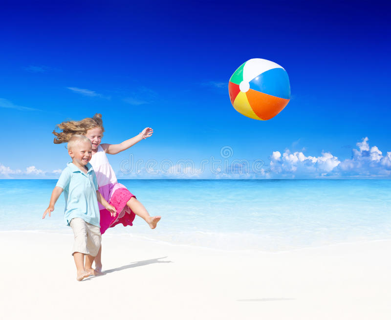 Summer Beach Family Fun Playful Concept.  stock image