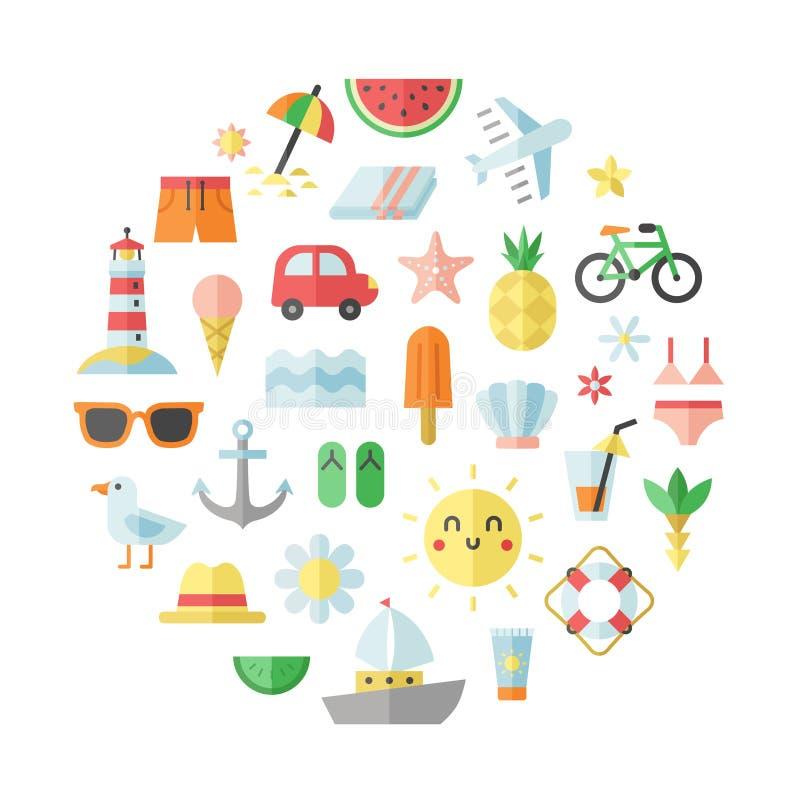 Summer and beach flat vector circle illustration. vector illustration