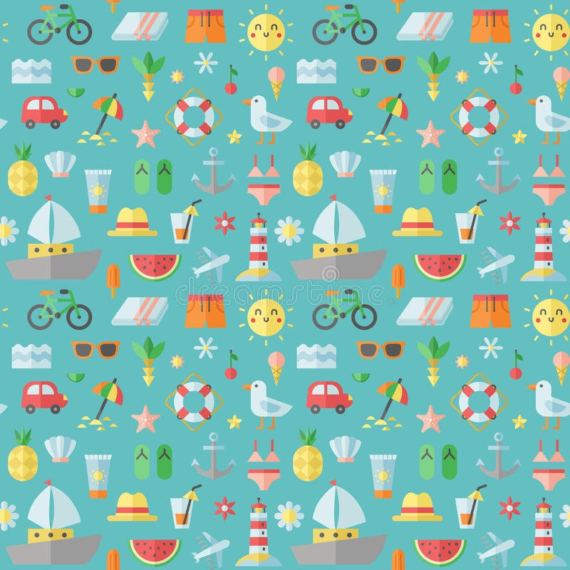 Summer and beach flat vector seamless pattern. royalty free illustration