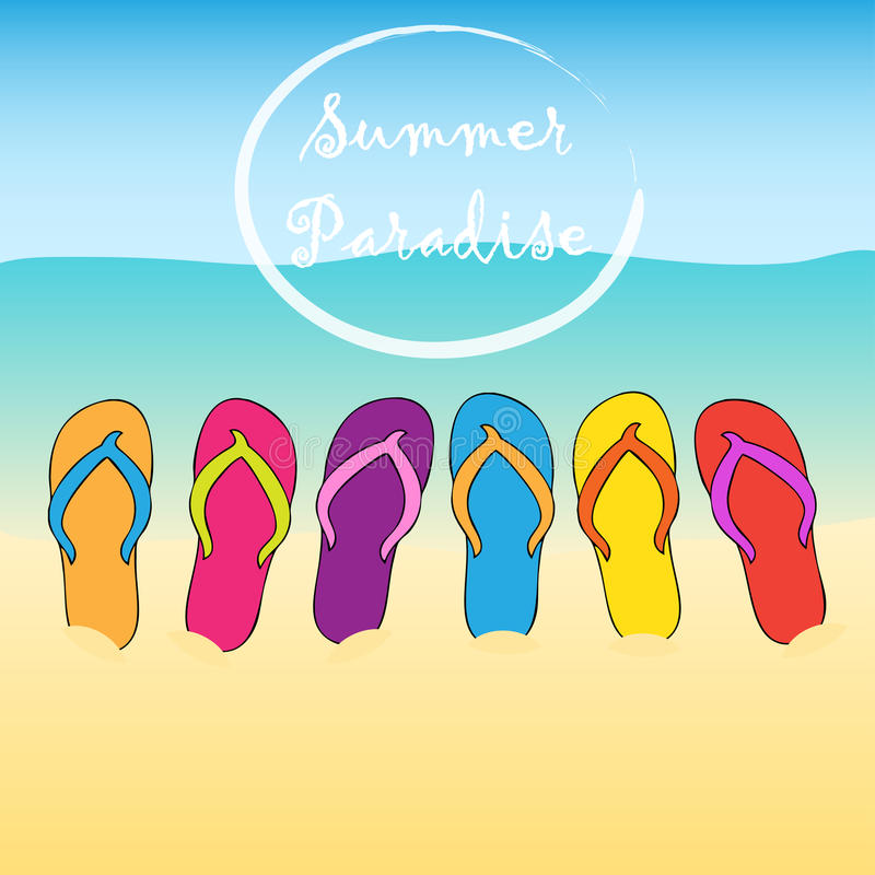 Summer beach flip flops. Paradise. Sand, sun, water.Vector background. royalty free illustration