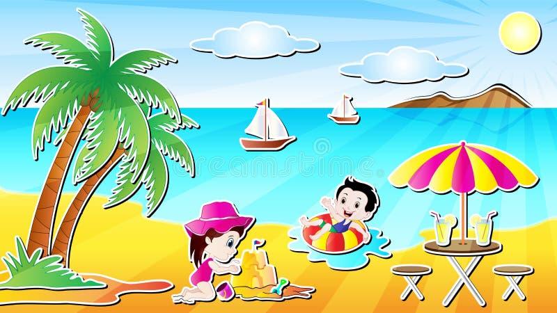 Summer Beach Fun Vector Illustration. Summer Beach Fun Cartoon Vector Illustration with a little boy and a little girl in a beautiful sea beach stock illustration