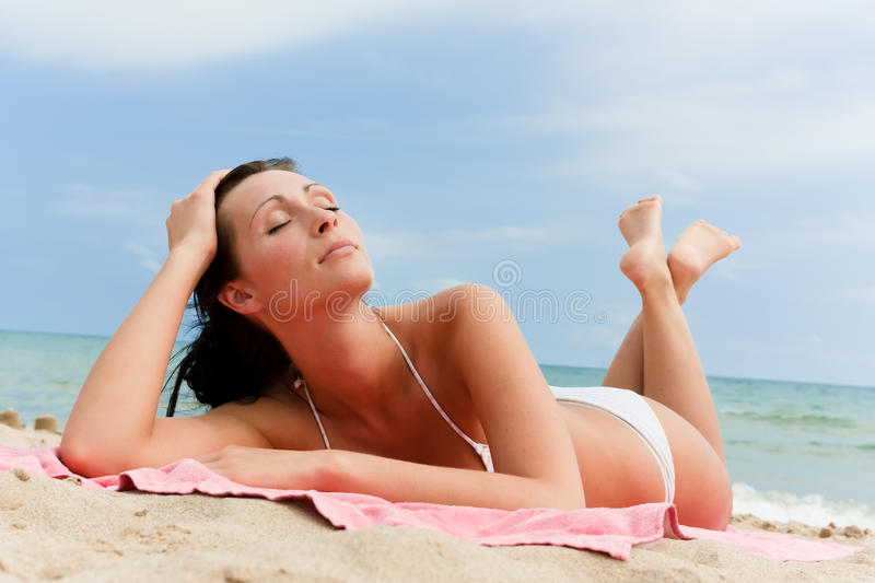 Download Summer beach girl stock image. Image of browning, looking - 15402659